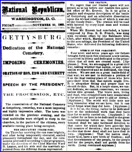 Coverage on the Thursday November 19, 1863 Dedication of the National Cemetery in Gettysburg (Friday November 20, 1863 issue of National Republican, a Washington, D. C. daily newspaper; selected parts, focusing on The Oration, extracted by S. H. Smith, 2013)