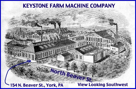 Keystone Farm Machine Company Buildings in early 1900s (From Company Letterhead with Annotations in Blue added by S. H. Smith, 2013)