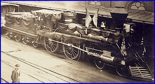 Harrisburg photographer D. C. Burnite photo of Lincoln's Funeral Train next to the Harrisburg Railroad Depot (Railroad Museum of Pennsylvania; Zooming in on the Pennsylvania Railroad locomotive No. 331)