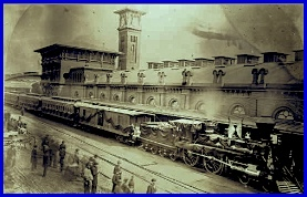 D. C. Burnite photo of the Lincoln Funeral Train next to the Harrisburg Railroad Depot (Railroad Museum of Pennsylvania)