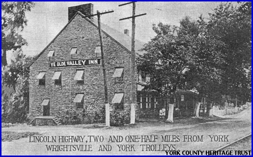 Circa 1920s Postcard of Ye Olde Valley Inn from the Collections of the York County Heritage Trust