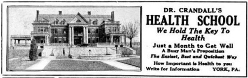 Ad for Dr. Crandall's Heath School (From The Kiwanis Magazine, Vol. 6, issue of August, 1921)
