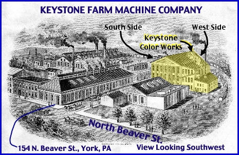 Keystone Farm Machine Company Buildings in early 1900s (From Keystone Farm Machine Company Letterhead with Annotations in Blue and Yellow Shading of Keystone Color Works building added by S. H. Smith, 2013)
