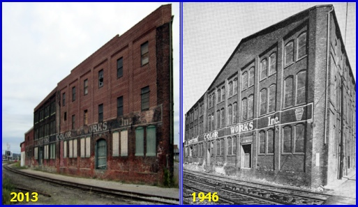 Comparison Photos of the West Side of the former Keystone Color Works building in York, PA (2013 Photo, S. H. Smith and 1946 Photo from page 159 of The Story of a Dynamic Community, York, Pennsylvania, published in 1946 by the York Chamber of Commerce)