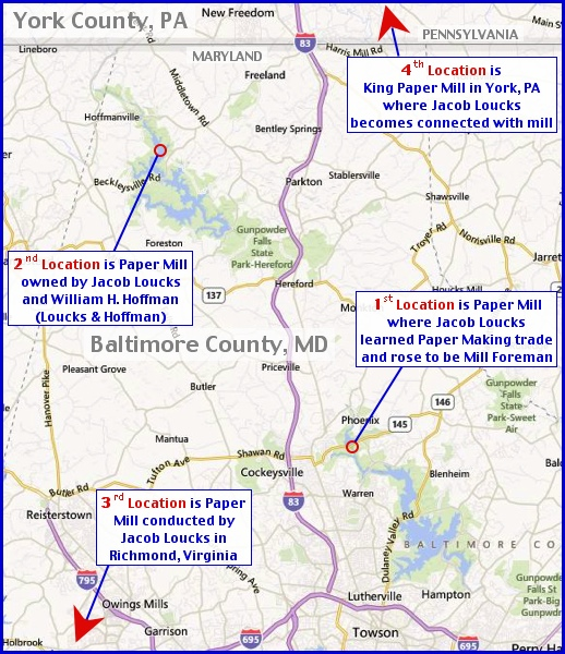 Locations of Four Paper Mills are noted on a 2013 Road Map showing Baltimore County, Maryland, between the Baltimore Beltway and Pennsylvania State Line (2013 Road Map; Annotated by S. H. Smith, 2013)