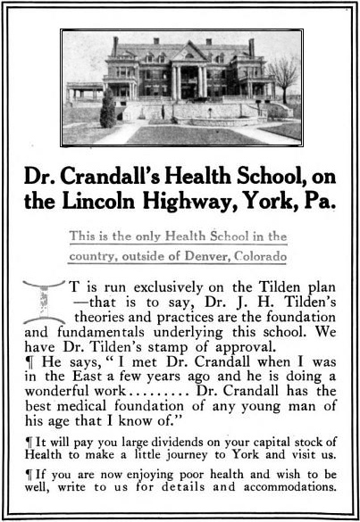 Ad for Dr. Crandall's Heath School (From the publication Roycroft, Vol. IX, issue of November, 1921)