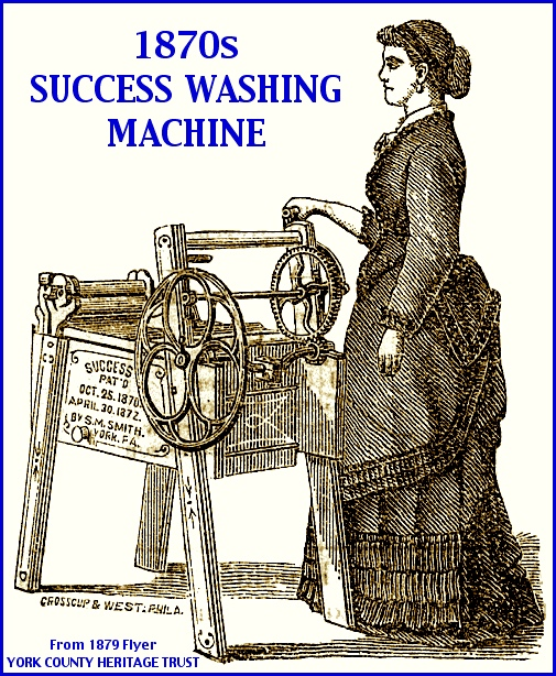Illustration of a Success Washing Machine from an 1879 Flyer (From Collections of the York County Heritage Trust; Notations in Blue by S. H. Smith, 2013)