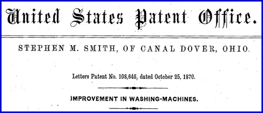 Header to U. S. Patent No. 108,646; by Stephen M. Smith (United States Patent and Trademark Office)