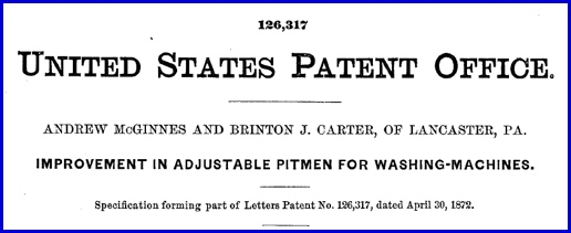 Header to U. S. Patent No. 126,317; by Andrew McGinnes and Brinton J. Carter (United States Patent and Trademark Office)