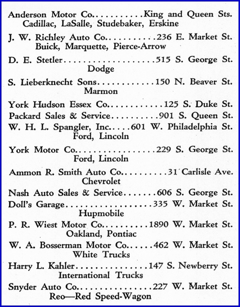 York Automobile Dealers printed on a 1930 Map of the City of York PA (From Collections of York County Heritage Trust; Map Issued by York Chamber of Commerce)