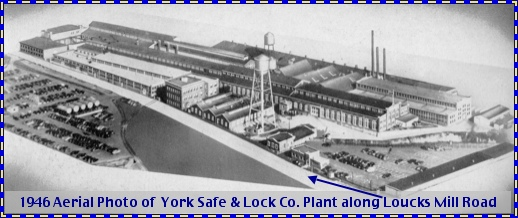 1946 Aerial Photo of York Safe and Lock Company (From page 238 of The Story of a Dynamic Community, York, PA, published in 1946 by the York Chamber of Commerce)
