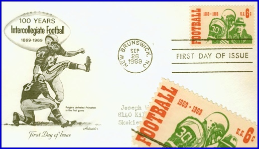First Day of Issue Stamp; 100 Years Intercollegiate Football, 1869-1969 (S. H. Smith Collection, with Enlarged View of Stamp positioned to cover part of a 1969 address)