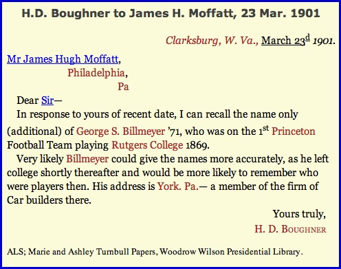 Transcribed 23 Match 1901 Letter in the Woodrow Wilson Presidential Library Database, from H. D. Boughner to James Hugh Moffatt (Image is from Online Search of Transcribed Papers in Woodrow Wilson Presidential Library)