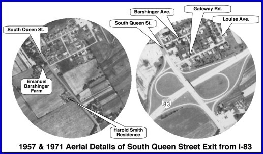 "1957 and 1971 Aerial Photos of South Queen Street in York Township (Sept. 5, 1957 Aerial Photo taken before I-83 Construction and Aug. 11, 1971 Aerial Photo taken years after I-83 Construction; this is a detail from a larger 20"" x 24"" S. H. Smith Poster ""Route of York Bypass; I-83"" displayed in Transportation Wing of Agricultural and Industrial Museum)"
