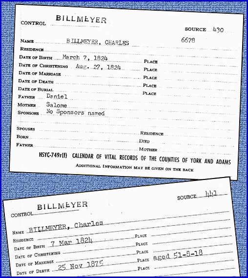 Billmeyer Vital Record Cards from York County Heritage Trust