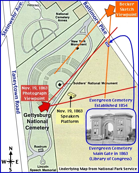 Image result for the Soldiers' National Cemetery in Gettysburg map