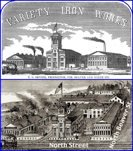 1870s Illustrations of Variety Iron Works in York, PA (Top is from 1877 General Directory of the Boroughs of York, Hanover & Wrightsville; Bottom is from 1873 book: The Monumental City, Its Past History and Present Resources by George Washington Howard)