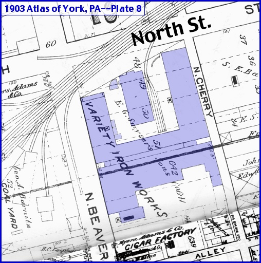 Section of Plate 8 of the 1903 Atlas of York, PA (Variety Iron Works shading and Annotations by S. H. Smith, 2013)