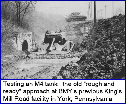 Testing an M4 Tank: BMY 50th Anniversary 1943-1993 Postcard (Top is Front of this Postcard & Bottom is photocopy of notation on Back of this Postcard; from S. H. Smith Collection)