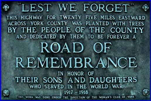 Plaque on ROAD OF REMEMBRANCE Memorial in Paradise Township, York County (2013 Photo, S. H. Smith)