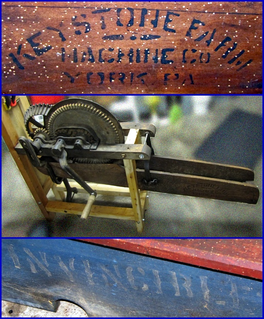 Photos of an Invincible Corn Sheller produced by the Keystone Farm Machine Company in York, PA (Photos supplied by Floyd Stiles, arranged by S. H. Smith, 2014)