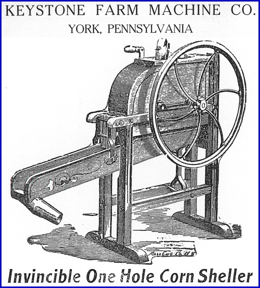Invincible One Hole Corn Sheller from page 7 of Keystone Farm Machine Company Catalog of Agricultural Implements (Collections of York County Heritage Trust)
