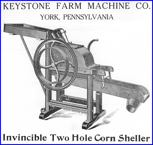 Invincible Two Hole Corn Sheller from page 8 of Keystone Farm Machine Company Catalog of Agricultural Implements (Collections of York County Heritage Trust)