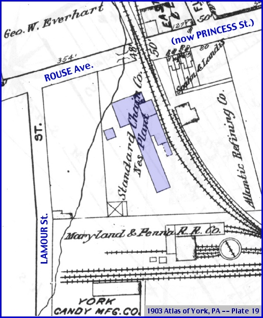 "Section of Plate 19 of the 1903 Atlas of York, PA (""Nes Plant of the Standard Chain Co."" shading and Annotations by S. H. Smith, 2014)"