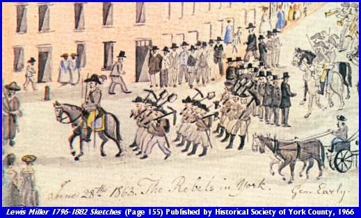 Sketch made by Folk Artist Lewis Miller depicting the June 28th 1863 entry of the Confederates into York, PA (Portion of Page 155 from Lewis Miller 1796-1882 Sketches and Chronicles, Published by Historical Society of York County, 1966)