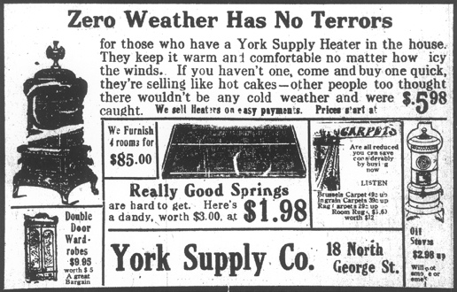 Ad in the January 6, 1912 issue of The Gazette (a York, PA newspaper; from microfilms of the York County Heritage Trust)