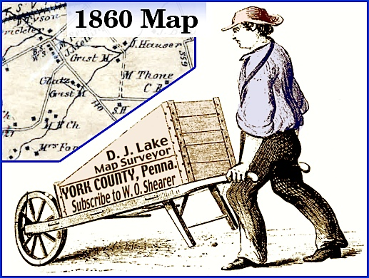 Depiction of D. J. Lake surveying the 1860 Map of York County (Modification of image from 1884 Printer's Book by S. H. Smith, 2014)