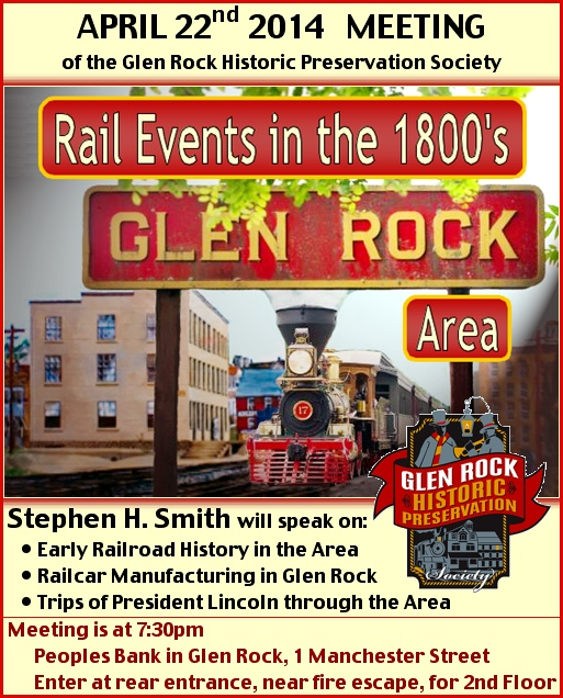 Flyer for Glen Rock Historic Preservation Society Talk (S. H. Smith, 2014)