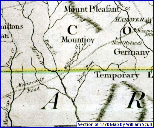 Section of 1770 Pennsylvania Map by William Scull showing the western end of the Monocasy Road between Hanover, Pennsylvania and the Manakisy River in Maryland