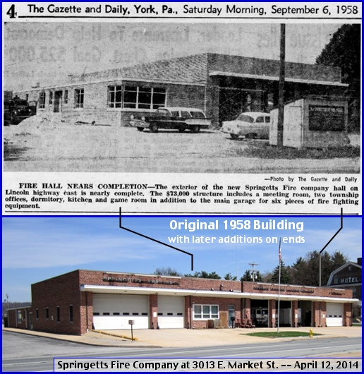 Springetts Fire Company at 3013 East Market Street (1958 Gazette & Daily microfilms at York County Heritage Trust; 2014 Photo by S. H. Smith)