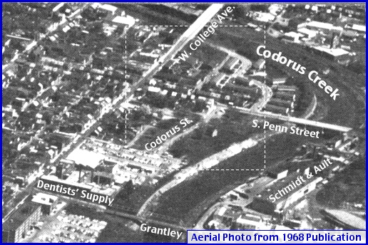 Codorus Street area of an Aerial Photo appearing on the inside back cover of Greater York in Action, a 1968 publication of The York Area Chamber of Commerce (Annotations by S. H. Smith, 2014)