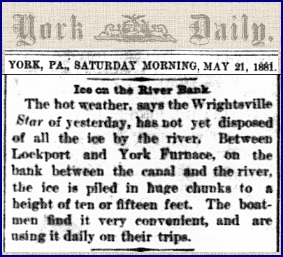Article in May 21, 1881 issue of the York Daily (From Newspaper Microfilms of the York County Heritage Trust)