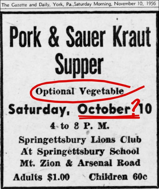 Ad in November 10, 1956 issue of The Gazette and Daily (Red Marks added by S. H. Smith per correspondence with Melissa, 2014)