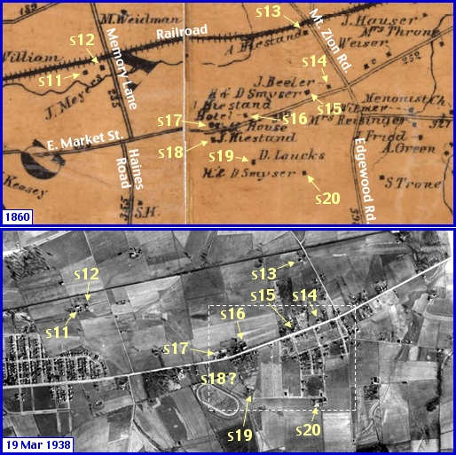 Upper Area of South Region in what is now Springettsbury Township; from Shearer's 1860 Map of York County, PA & Penn Pilot Aerial Photo, from Mar. 19, 1938, of Same Area (Annotations by S. H. Smith, 2014)