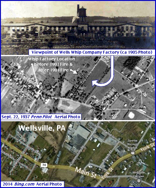 Photo of Wells Whip Company with Factory Location(s) Pinpointed in Aerial Photo of Wellsville, PA (Annotations by S. H. Smith, 2014)