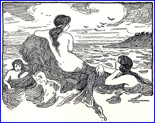 1908 Mermaid Illustration by Latimer J. Wilson (Comes from a Third Year Reader)