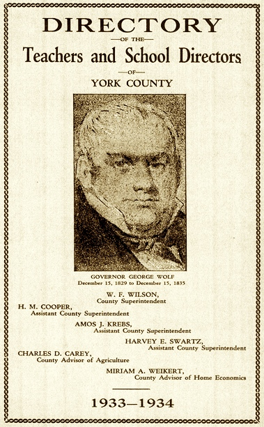 Cover of the 1933-1934 Directory of the Teachers and School Directors of York County (Collections of York County Heritage Trust)