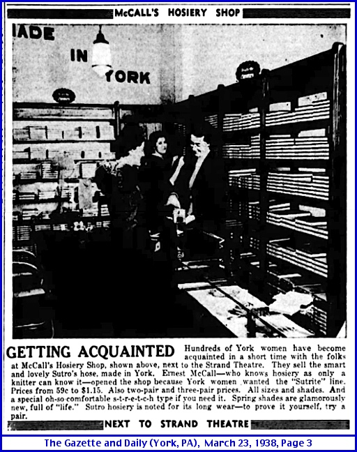 1938 Ad for McCall's Hosiery Shop in York, PA (March 23, 1938 Issue of The Gazette and Daily, York County Heritage Trust Newspaper Microfilms)