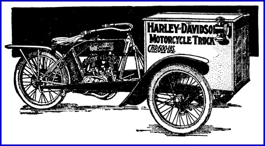 The 1914 Harley-Davidson Motorcycle Truck Ad in Harrisburg Auto Show edition of Harrisburg Telegraph (Issue of March 14, 1914 from the Digital Collections of Penn State University Libraries)