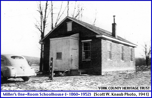 Miller's One-Room Schoolhouse in Springettsbury Township (From Collections of York County Heritage Trust; Photo by Scott W. Knaub in 1941)