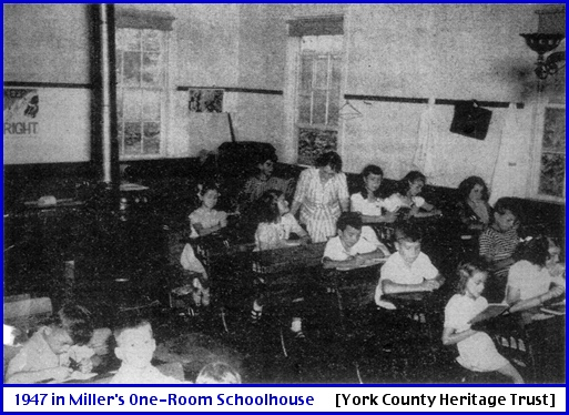 1947 Interior Photo of Miller's Schoolhouse in Springettsbury Township (From September 4, 1947 Issue of The Gazette and Daily; in the Newspaper Microfilms at York County Heritage Trust)