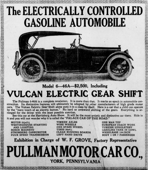 Pullman Ad in Harrisburg Auto Show edition of Harrisburg Telegraph (Issue of March 14, 1914 from the Digital Collections of Penn State University Libraries)