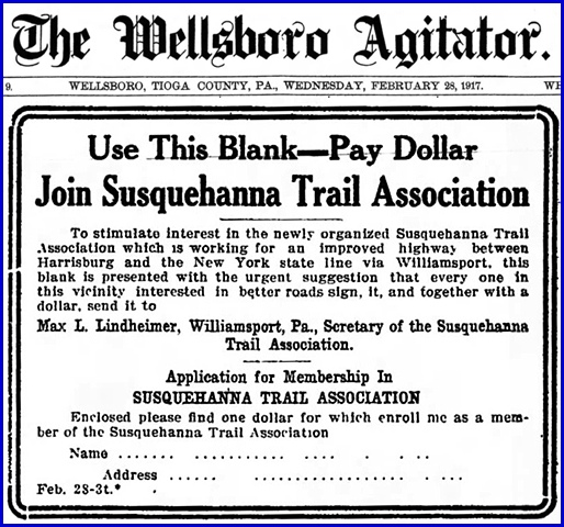 Join Susquehanna Trail Association coupon in The Wellsboro Agitator issue of February 28, 1917 (Pennsylvania State Library)