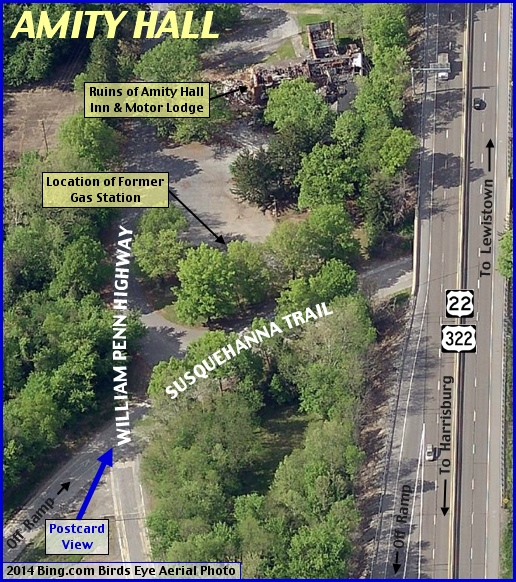 2014 Bing.com Birds Eye Aerial Photo of Amity Hall, PA (Annotations indicating original intersection of the William Penn Highway and the Susquehanna Trail by S. H. Smith, 2014)