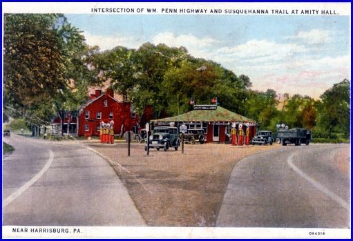Intersection of Wm. Penn Highway and Susquehanna Trail at Amity Hall in 1930s (Postcard from Collections of S. H. Smith)
