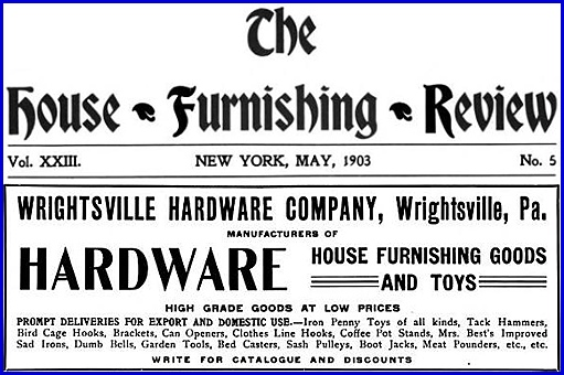 Wrightsville Hardware Company advertisement (Appearing on page 378 of the May 1903 issue of, The House Furnishing Review)